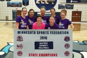 MASTERS WOMEN'S VOLLEYBALL STATE CHAMPION: HOT MESS, FOREST LAKE; Runner-up: Schlepsters, Champlin